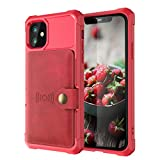 Red PU Case for iPhone 12 Pro Max 2020 5G 6.7 Protective Cash Credit Card Holder Durable High Capacity Kickstand Cover Shell Birthday Gift