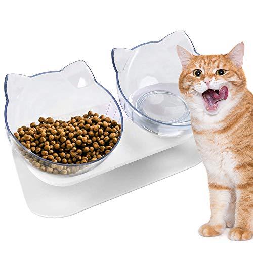 VZATT Katzennapf, 15° Neigbar Futternapf Katze, 2021 Neueste Abnehmbarer Katzennapf Erhöht rutschfest Doppelnapf mit Erhöhtem Ständer, Wassernapf und Futternapf für Katzen und Hunde