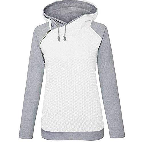 Moda Sudaderas Jersey Sweater Sudaderas con Capucha para Mujer Sudadera Sudaderas con Capucha Sólidas Chaqueta Informal Suelta De Manga Larga M Blanco