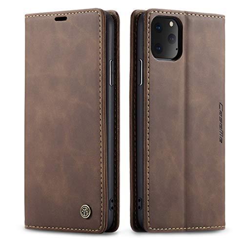 QLTYPRI Hülle für iPhone 11, Vintage Dünne Handyhülle mit Kartenfach Geld Slot Ständer PU Ledertasche TPU Bumper Wallet Case Flip Schutzhülle Kompatibel mit iPhone 11 - Kaffee Braun