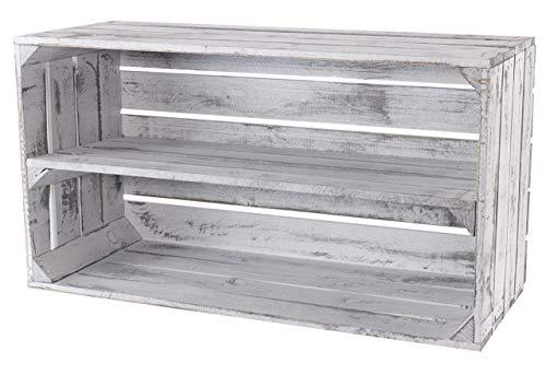 Moooble Neue, breite Holzkisten grau | 74,5x40x31 cm | Obstkiste im modernen Vintage Stil| Shabby Chic | Sideboard, TV Bank oder Regal (1)