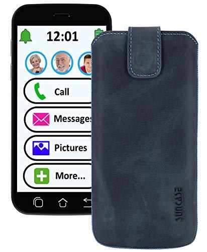 Suncase ECHT Ledertasche Leder Etui *Slim-Edition* für Swissvoice G50 Leder Hülle Handytasche (mit Rückzugsfunktion & Magnetverschluss) Pebble-Blue