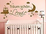 GRAZDesign Dekoration Babyzimmer personalisiert - Aufkleber über Kinderbett - Wickelkommode - Babybett Schlafender Mond Wolken Sterne - Wandtattoo Schlafen / 83x40cm / 091 Gold