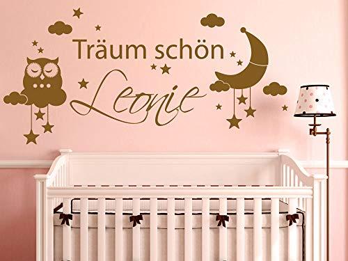 GRAZDesign Dekoration Babyzimmer personalisiert - Aufkleber über Kinderbett - Wickelkommode - Babybett Schlafender Mond Wolken Sterne - Wandtattoo Schlafen / 119x57cm / 042 Flieder