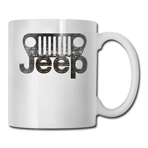 Kaffeetasse aus Keramik, 325 ml, Motiv: Jeep Steel American Brand Car, Weiß, Einheitsgröße