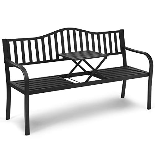 CASART 3 Seater Garden Bench, Cast Iron Slat Park Chair Seat with Folding Integrated Coffee Table, Outdoor Leisure Bench Loveseat for Garden, Patio, Park, Porch and Yard