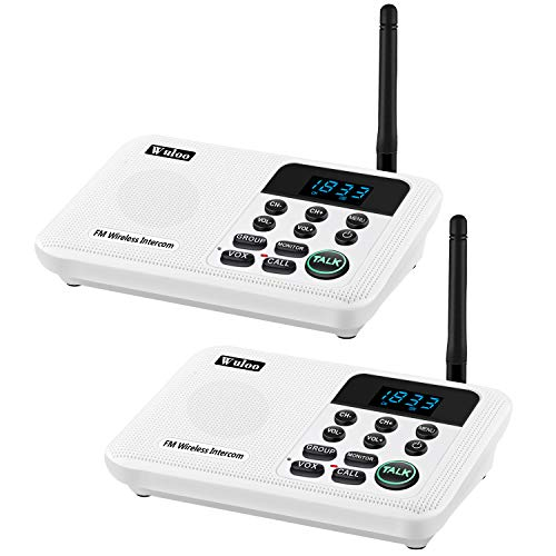 Wuloo Intercoms Wireless for Home 1 Mile Range 22 Channel 100 Digital Code Display Screen, Wireless Intercom System for Home House Business Office, Room to Room Intercom Communication(2Station, White)