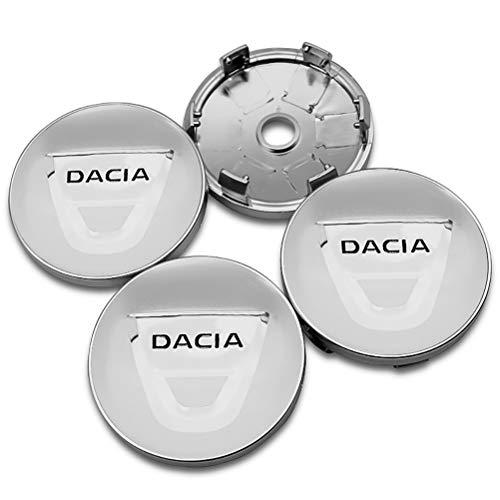 QIEP 4 Piezas 60mm AleacióN Abs Cubo De La Rueda Tapacubos Centro Tapas Cubierta Emblema Insignia para Dacia Duster Logan Sandero Stepway Lodgy Mcv 2 Dokker