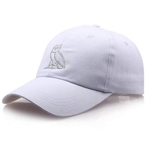 Gbksmm Hip Hop Hut Europa Und Amerika Beliebte Katze Baseballmütze Eule Cricket-Mütze Hut Outdoor Männer Und Frauen Hüte-Weiß 1