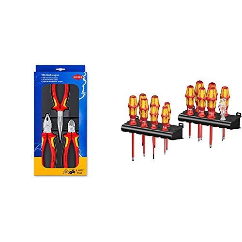 Knipex 00 20 12 – Elektro-Paket mit drei VDE-geprüften Zangen & Wera Kraftform Big Pack 100 VDE, Schraubendreher Set 14-teilig, 05105631001