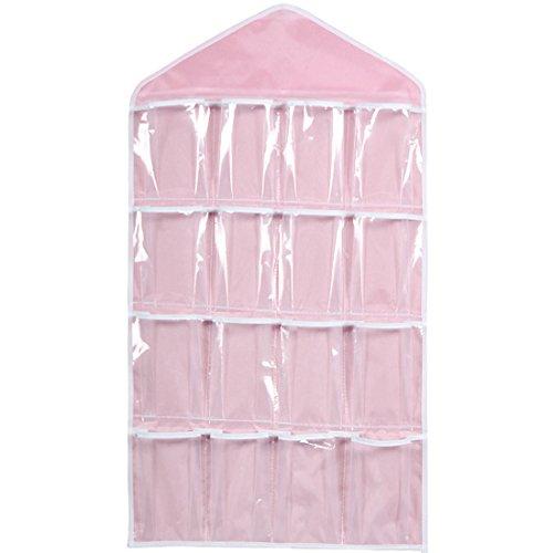 Bolsa transparente para colgar con 16bolsillos, para colgar en la puerta, zapatero para colgar ropa interior, calcetines, sujetadores, almacenamiento, organizador (verde)