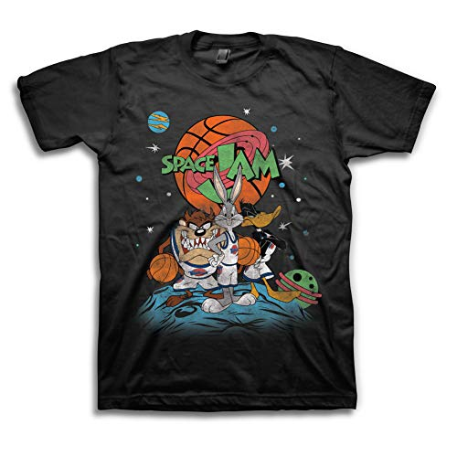 space jam Mens Classic Shirt - Tune Squad Marvin & Bugs Bunny Tee 90's Classic T-Shirt (Black Group, X-Large)