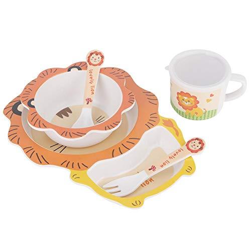 5 stks/set kinderen bamboevezel servies kom kinderen servies set schotel cup lepel vork kit baby cartoon thuis voedsel (walvis/leeuw cartoon)