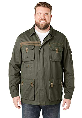 Boulder Creek by Kingsize Men's Big & Tall Multi-Pocket Twill Jacket - Tall - 5XL, Olive