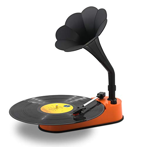 Turntable Record Player with Horn Speaker for 33/45 RPM Records,Mini Gramophone Supporting Bluetooth Playback Orange