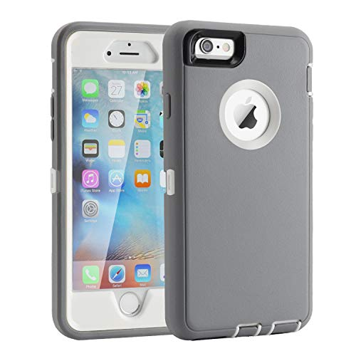 iPhone 6/6s Case, Heavy Duty Shockproof Scratch-Resistant iPhone Shell Case for 4.7' iPhone 6/6s (NOT Plus) with 3-in-1 Built-in Screen Protector Without Belt Clip (Grey White)