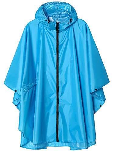 Unisex Waterproof Rain Poncho Coat with Pockets Sky Blue