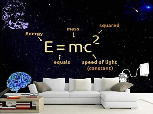 Fototapete Physiker Einstein Masse-Energie-Austausch Formel EMC Wallpaper Wandbild Cafe Bar Restaurant Wandaufkleber Poster-250cmx175cm