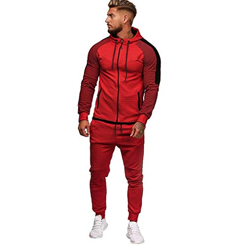 Men's Sport Suit Stretchy Trousers Hooded Drawstring Coat Outwear Pants Jogging Sports Tracksuit Set (2XL, Red)