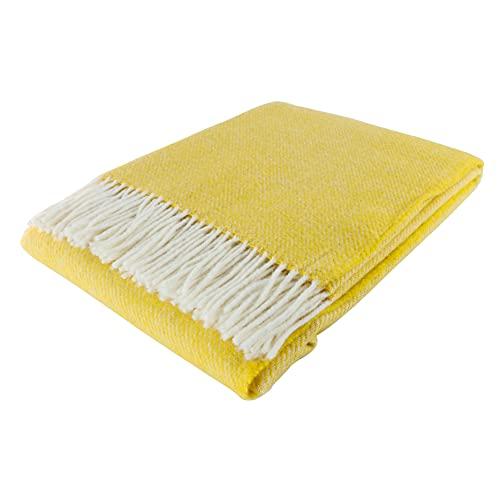 Fair Deluxe - Manta de lana pura   Manta de lana 100%   Manta de sofá / manta de sofá   Manta agradable y suave   100% pura lana con borde de flecos (patrón dinero/oblicuo)