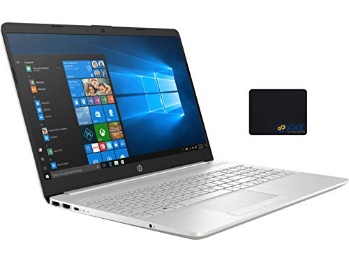 "2020 Newest HP 15 Laptop, 15.6"" HD Touchscreen, 10th Gen Intel Core i5-1035G1 Processor up to 3.6GHz, 16GB DDR4 RAM, 256GB PCIe SSD+1TB HDD, BacklitKeyboard, HDMI, Win10, Silver, KKE Mousepad"