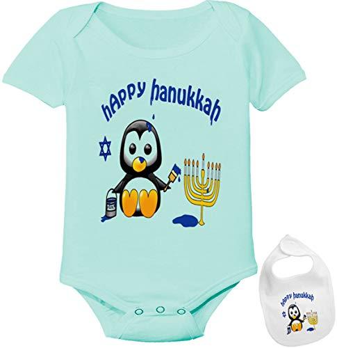 Igloo Happy Hanukkah -Cute Jewish Holiday Baby Bodysuit Onesie & bib Outfit (5 Colors) Green
