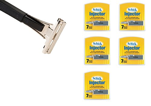 Shave Classic Single Edge Razor Handle with Schick Injector Refill Blades 7 Ct. (Pack of 5) ! Razor Compatible with Schick Injector Razor Blades !