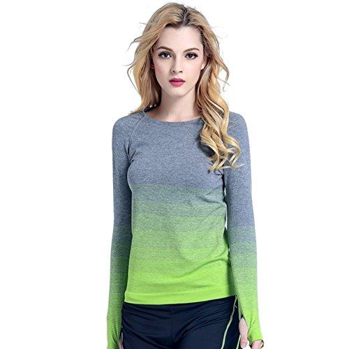 (Medium, Green) - Balai Women Gym Sports Shirt Yoga Top Fitness Running Long Sleeve T-Shirt Tops