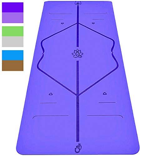 Sosila yogamat, gymnastiekmat, 6 mm TPE ECO mat, antislip, milieuvriendelijk, hypoallergeen, huidvriendelijk, voor yoga, pilates, gymnastiek, fitness, met draagtas, 183 x 61 x 0,6 cm