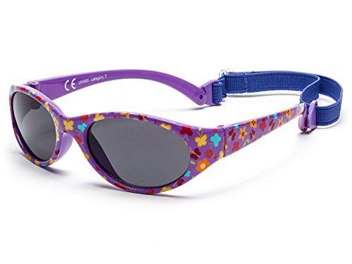 Kiddus Outdoor-Sonnenbrille für Kinder Kleinkind Junge Mädchen. Alter 2 bis 6 Jahre. Verstellbares abnehmbares Band. Unzerbrechlich. Sicherer UV400 Schutz (purple)