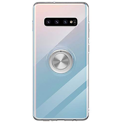 Funda para Samsun Galaxy S10 Plus Teléfono Móvil Silicona Bumper Case Funda con Anillo Giratorio de 360 Grados Rotaria Ring Holder Protectora Caso (Transparente, Samsung Galaxy S10 Plus)