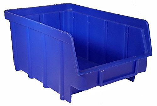 80 Stück Stapelboxen – blau – Größe 2 (102 x 167 x 76 mm) - stapelbar/Sichtbox/Regalbox/Lagerbox