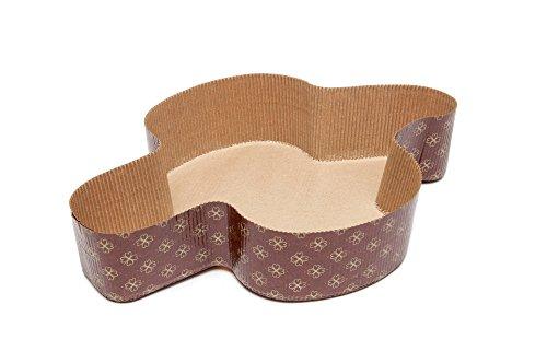 Ecopack, Stampo Ecologico per Colomba, in Carta Biodegradabile, Made in Italy, Resistente Fino a 220°C, Capienza Impasto 750 gr, Linea Cotto con Amore Festive, Dimensioni 28,5x20,5x5,5cm, 5 Pezzi