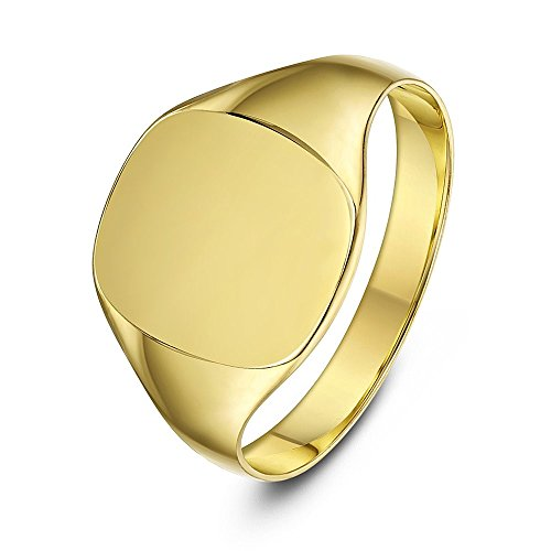 Theia 9 ct Yellow Gold, Cushion Shape, Heavy Weight, Ladies Signet Ring - Size H
