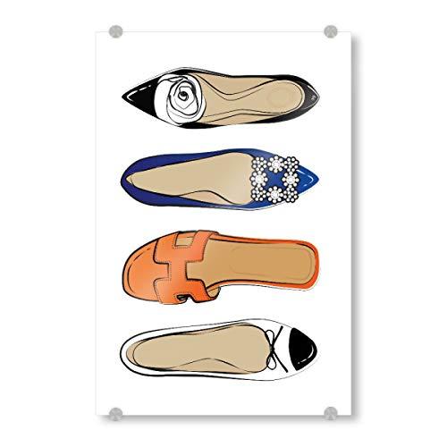 artboxONE Acrylglasbild 45x30 cm Schwarzweiß Luxury Fashion Shoes Bild hinter Acrylglas - Bild Shoes Bright Colourful