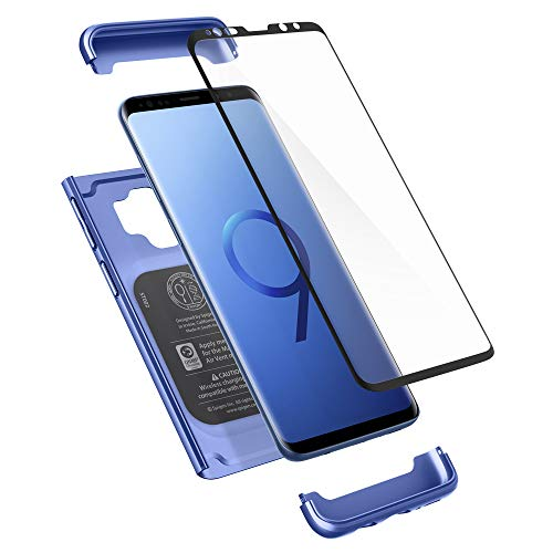 Spigen Thin Fit 360 Designed for Samsung Galaxy S9 Case (2018) Tempered Glass Screen Protectors Included - Coral Blue