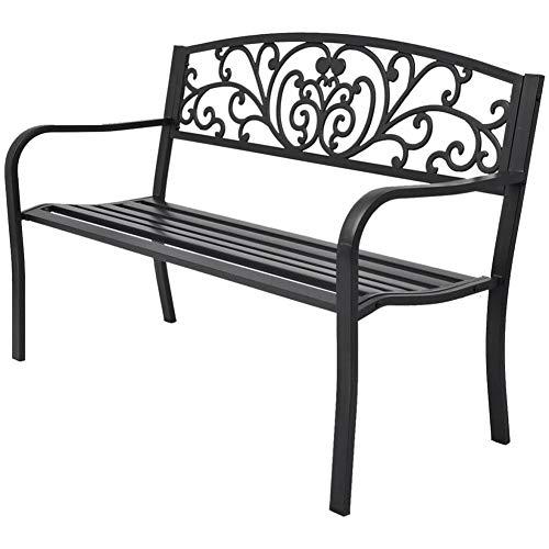 Wakects - Banqueta de jardín de metal con respaldo y reposabrazos para terraza, estructura estable, ideal para balcón, jardín, borde de la piscina, terraza, 127 x 60 x 85 cm, color negro