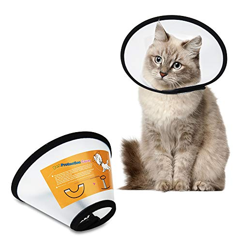 SenPuSi Collarín para mascotas, de plástico, cuello isabeletano, garras de protección, cono de plástico, protección especial para gatos, perros pequeños y conejos (tamaño 6 (18 – 22 cm)