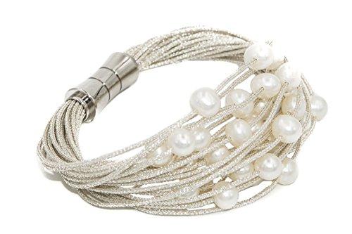 Bracciale da donna di perle d'acqua dolce coltivate da 6 a 6,5 mm Secret & You - Montato su cordino in tessuto di alta qualità e chiusura magnetica in acciaio inossidabile.