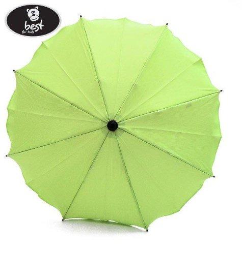 Best For Kids Universal Kinderwagenschirm NEUSTE TECHNIK Höchster UV Schutz Standard 801 - Sonnenschirm und Regenschirm für Kinderwagen, biegsam und einklappbar, 15 Farben zur Auswahl (Hellgrün)