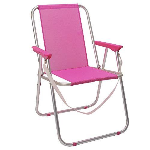 LOLAhome Silla de Playa Plegable Fija de Aluminio y Textileno (Rosa)