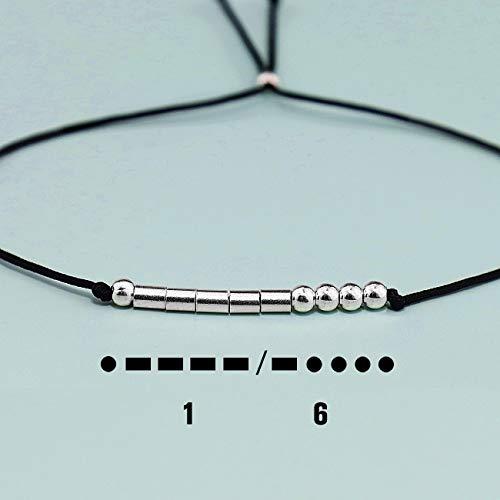 YooAi Bracciale codice Morse Regali di Buon Compleanno per Ragazze Ragazzi Bracciale in Argento Gioielli Regalo di Compleanno per 12th 13th 14 15 Perline su Cordoncino di Seta 16th 17 18 19 20 21 25