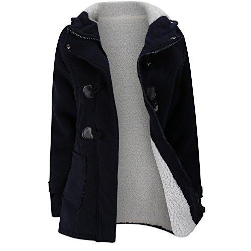 FRAUIT Winterjacke Damen Wollmantel Hoodie Mantel Jacke Lange Windjacke Kleidung Damen Mode Elegant Wunderschön Multifunktional Warm Bequem Atmungsaktiv Kleidung Bluse Tops M-4XL (XL, Marine)
