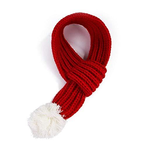 bdxka hond sjaal breien hond accessoires rode sjaal met haarbal huisdier halsdoek voor puppy kat winter huisdier producten, L, Rood