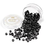 200Pcs Beads Silicone Aluminium Micro Nano Rings 3mm Lined For I Tip/Nano Hair Extensions Tool Beads (1 Bottle, Black Color)