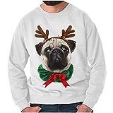 Funny Christmas Crewneck Sweatshirt Ugly Sweater Pug Dog Reindeer, White, XL