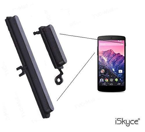 iSkyce Bouton Allumage An/Aus, Lautstärkeregler für Smartphone LG Google Nexus 5 D820, Schwarz