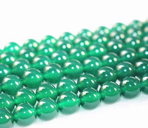 Lot de 63 perles d'agate vertes, lisses et rondes, 4 mm, 6 mm, 8 mm, 10 mm, 12 mm