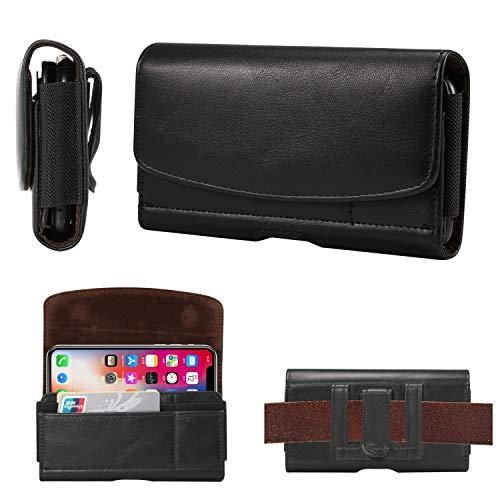 N/A para iPhone 11 Pro/XS/X Cinturón de cuero Clip de la bolsa, funda de cinturón para Samsung Galaxy S10e/S9/S8/S7/S6 Edge/S6. Funda tipo cartera con tarjetero para teléfono