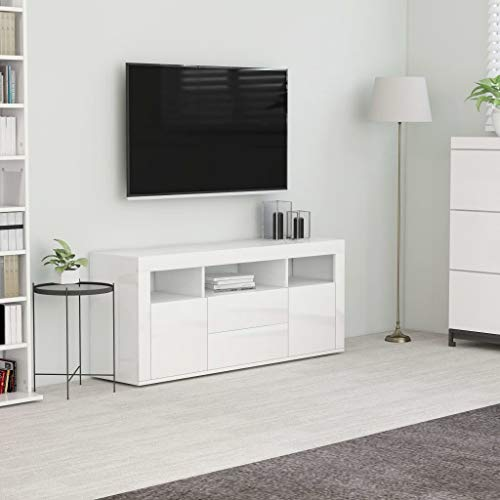 Lechnical - Mueble para televisor, mueble para TV, mueble de TV, mueble bajo para TV, mesa de televisión, mesa de TV, mesa de salón, color blanco brillante, 120 x 30 x 50 cm